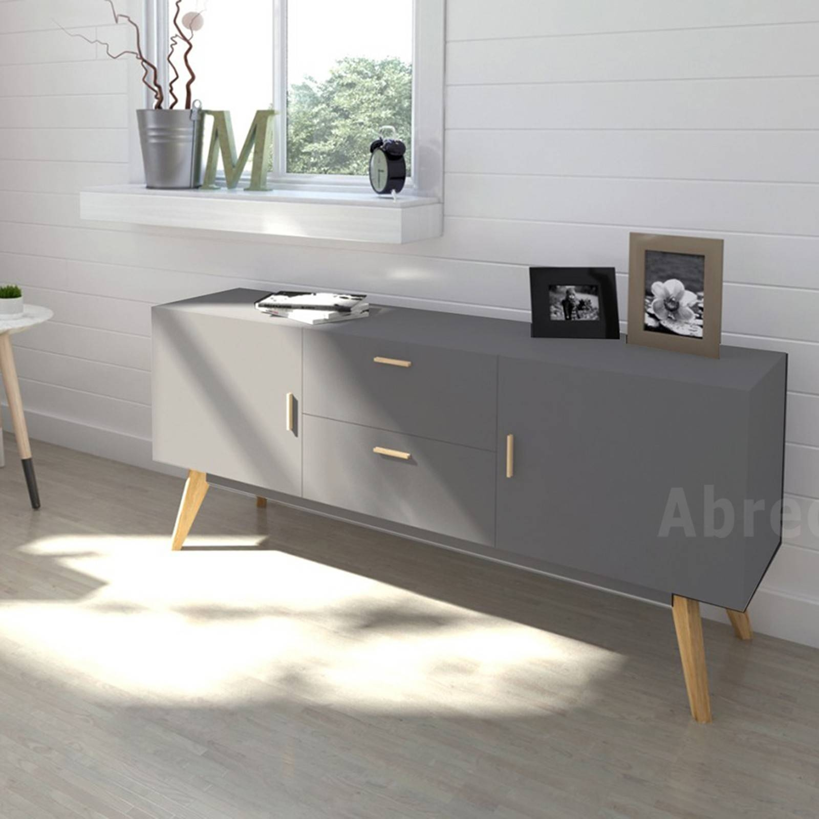 Scandinavian Retro Style White Sideboard Abreo Home Furniture In Scandinavian Sideboards (View 9 of 15)