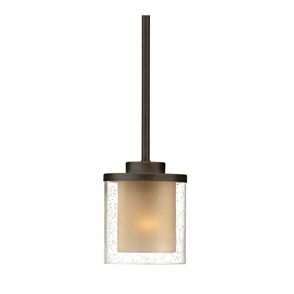 Seeded Glass & Amber Mini Pendant Light Bronze Dolan Designs Within Mini Pendant Lights (View 5 of 15)