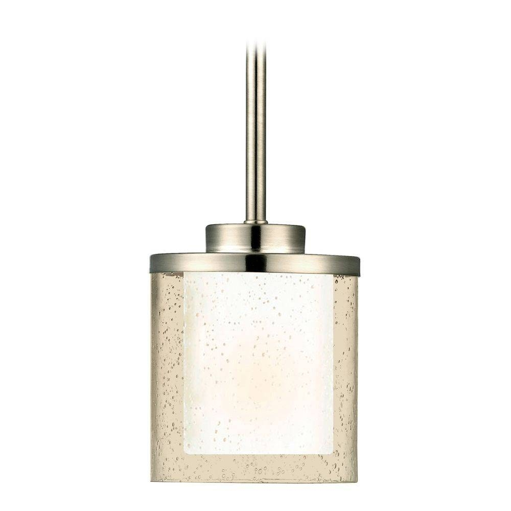 Seeded Glass Mini-Pendant Light Satin Nickel Dolan Designs | 2951 throughout White Mini Pendant Lights (Image 14 of 15)
