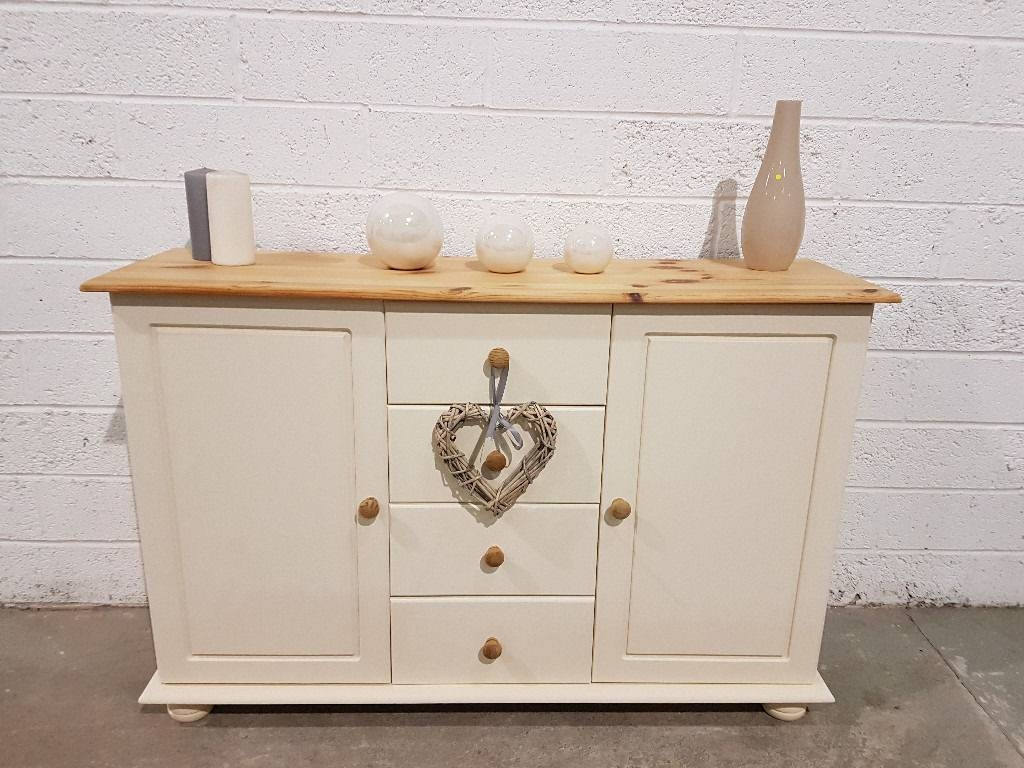 Shabby Chic Pine Sideboard In Rustoleum Clotted Cream Chalk Paint Intended For Chalk Painted Sideboards (View 13 of 15)