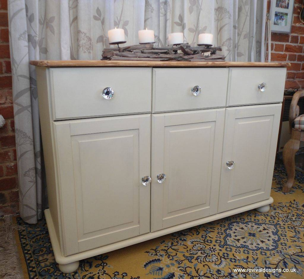 Shabby Chic Solid Pine Cream Sideboard With 3 Drawers | Revival Inside Shabby Chic Sideboards (View 13 of 15)