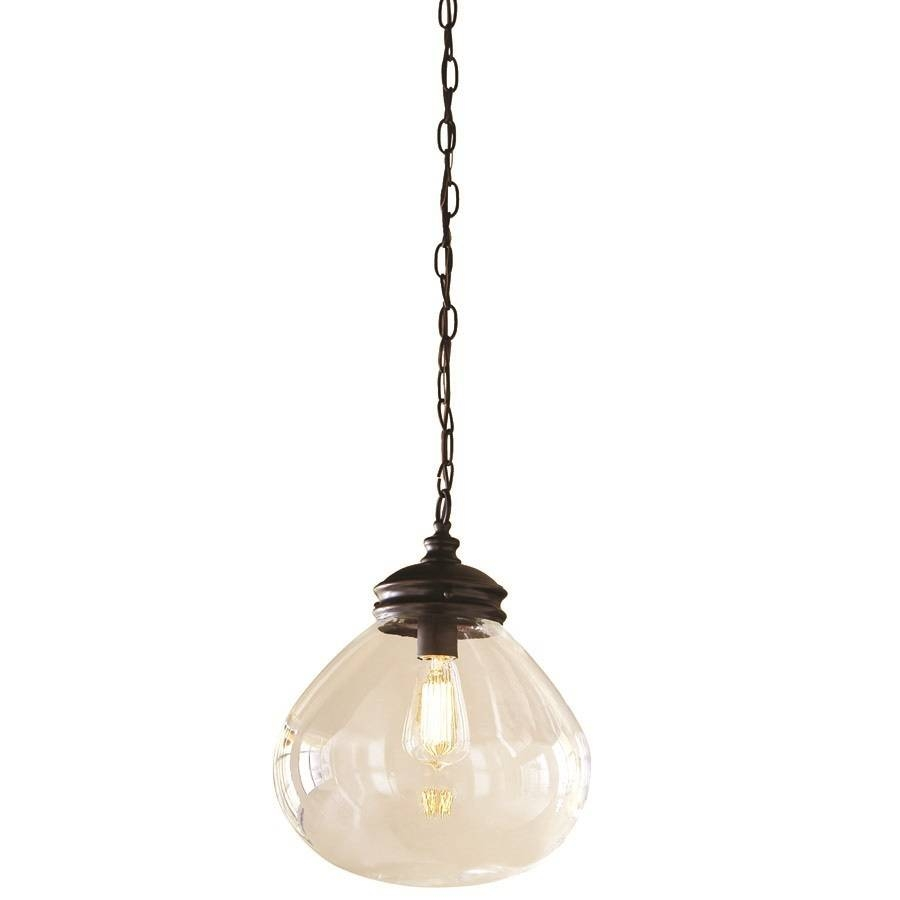 Shop Allen + Roth Bristow 12 In Oil Rubbed Bronze Vintage Single With Regard To Bronze Globe Pendant Lights (View 5 of 15)