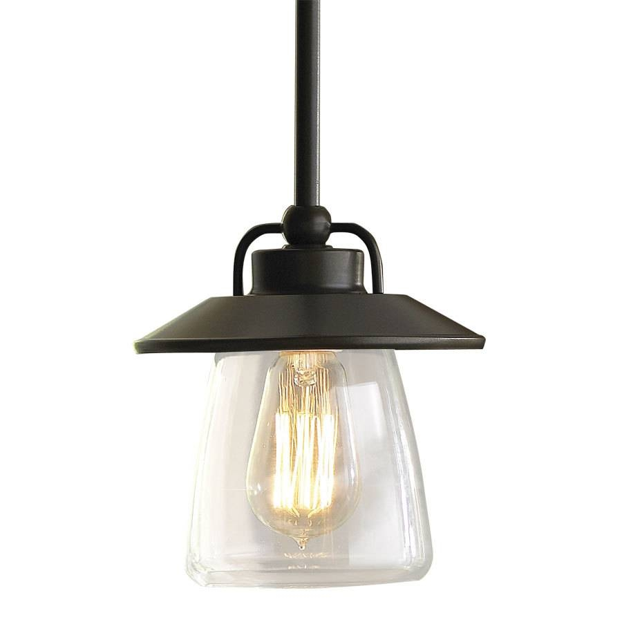 Shop Allen + Roth Bristow 6.87-In Mission Bronze Rustic Mini Clear regarding Clear Glass Globe Pendant Light Fixtures (Image 13 of 15)