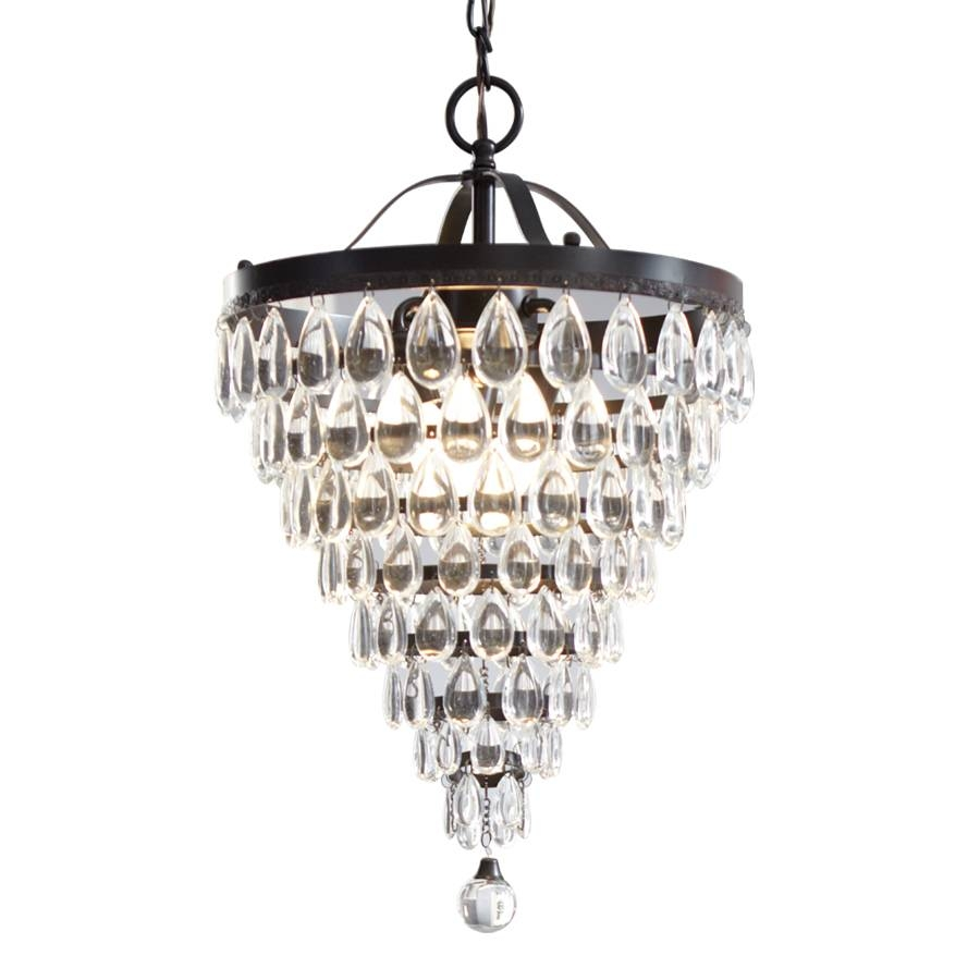 Shop Bel Air Lighting 8.5-In Bronze Mini Crystal Pendant At Lowes pertaining to Crystal Teardrop Pendant Lights (Image 13 of 15)