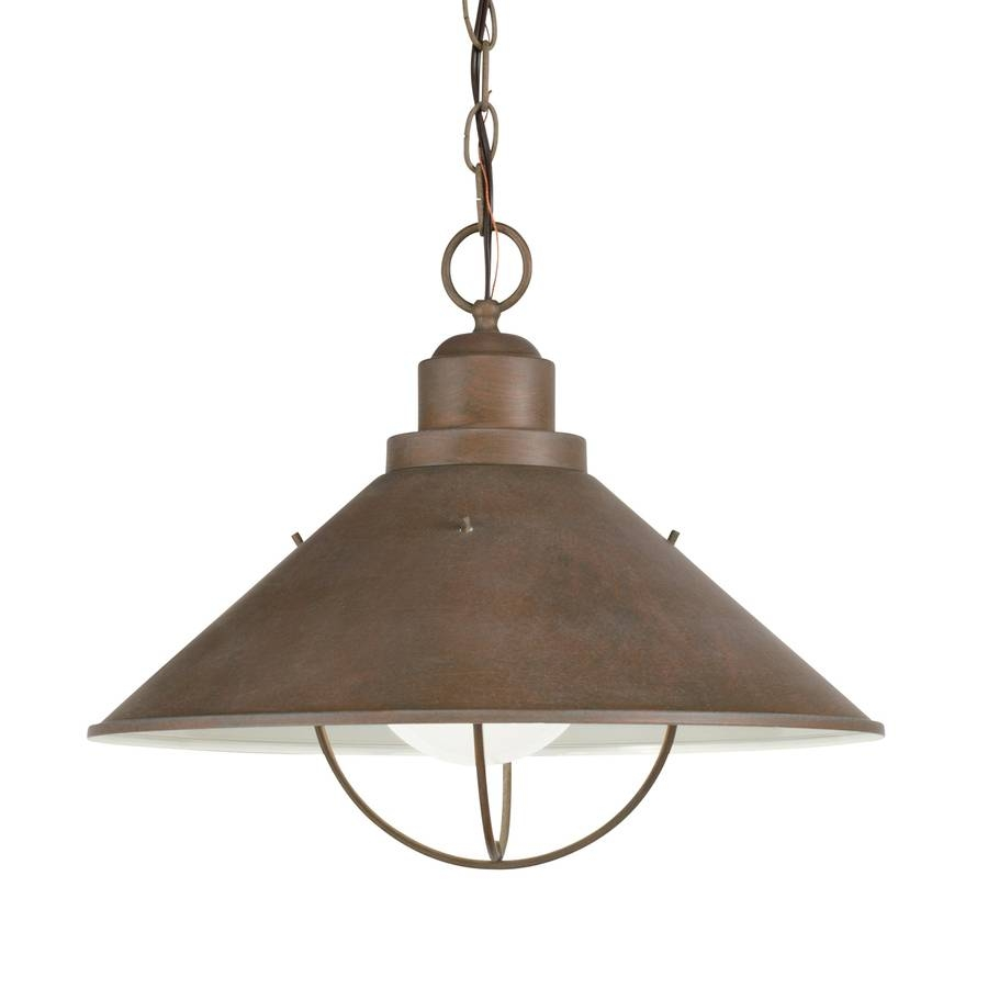 Shop Kichler Seaside 13.25-In Olde Brick Outdoor Pendant Light At with regard to Outside Pendant Lights (Image 14 of 15)