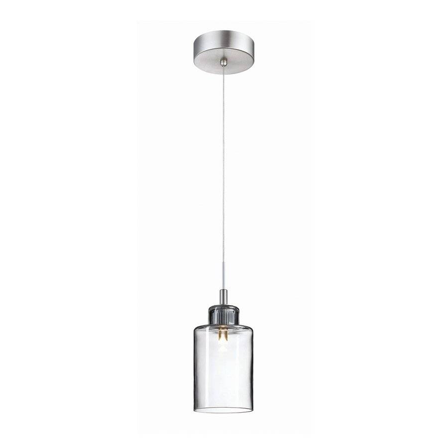 Shop Philips Harmonize 4 In Satin Nickel Mini Clear Glass Jar Intended For Clear Glass Mini Pendant Lights (View 11 of 15)