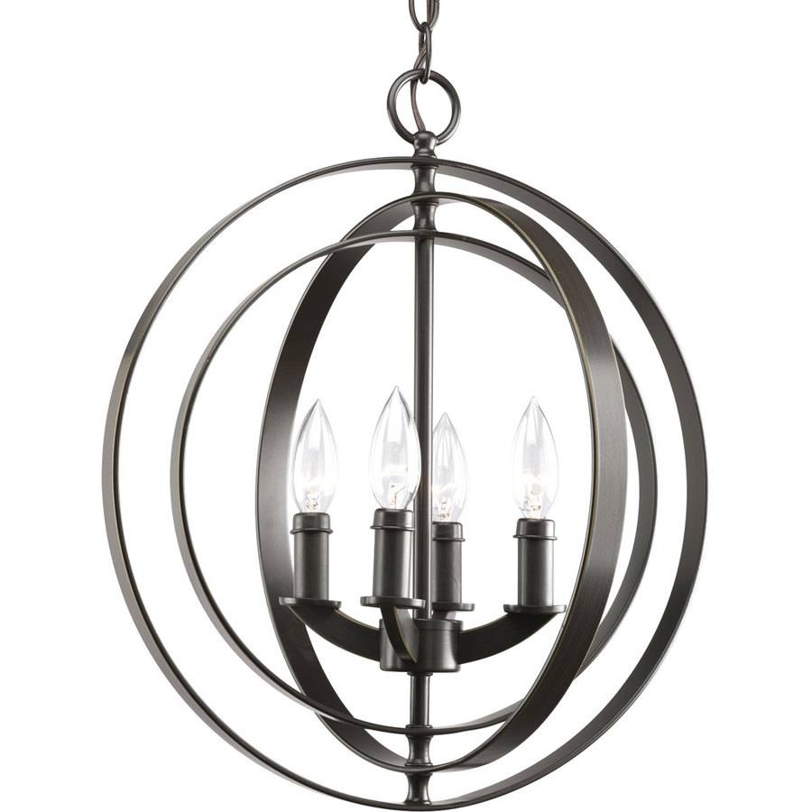 Shop Progress Lighting Equinox 16 In 4 Light Antique Bronze Globe Within Bronze Globe Pendant Lights (View 4 of 15)