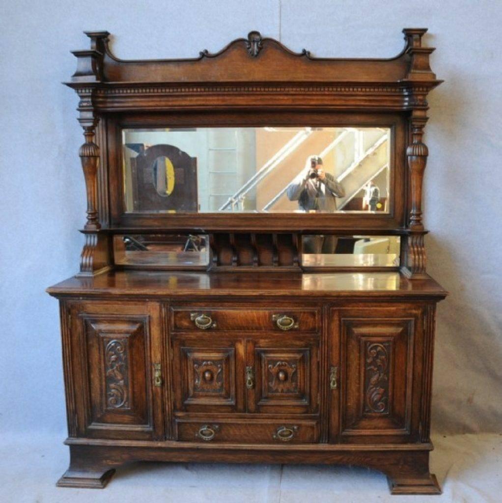 Sideboard An Oak Mirror Back Sideboard. Sideboards Antique for Antique Sideboards With Mirror (Image 8 of 15)