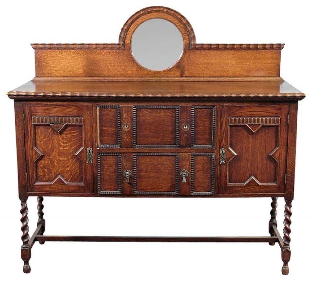 Sideboard Antique Oak Jacobean Barley Twist Buffet Sideboard intended for Jacobean Sideboards Buffets (Image 12 of 15)