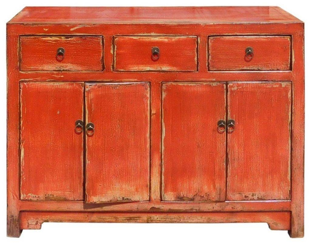 Sideboard Chinese Distressed Rustic Orange Red Sideboard Buffet within Red Sideboards Buffets (Image 9 of 15)
