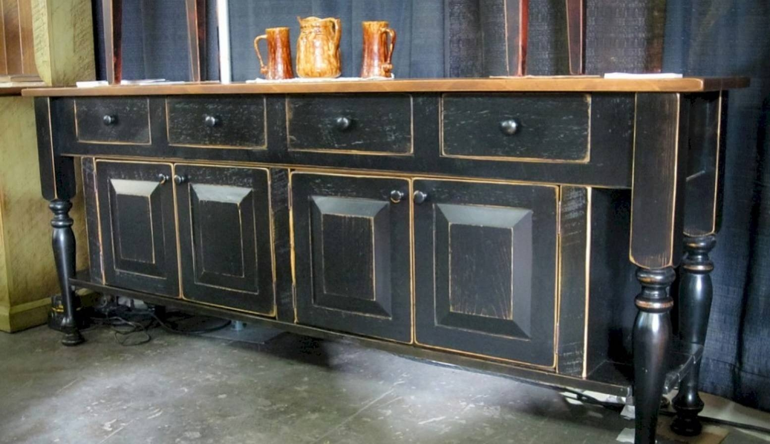 Sideboard : Distressed Sideboard Buffet Bewitch Rustic Wood Buffet inside Distressed Sideboards and Buffets (Image 8 of 15)