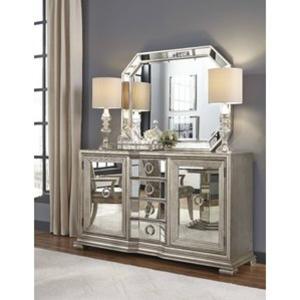 Sideboard Mirrored Sideboard & Buffet Tables You'll Love | Wayfair within Mirror Over Sideboards (Image 11 of 15)
