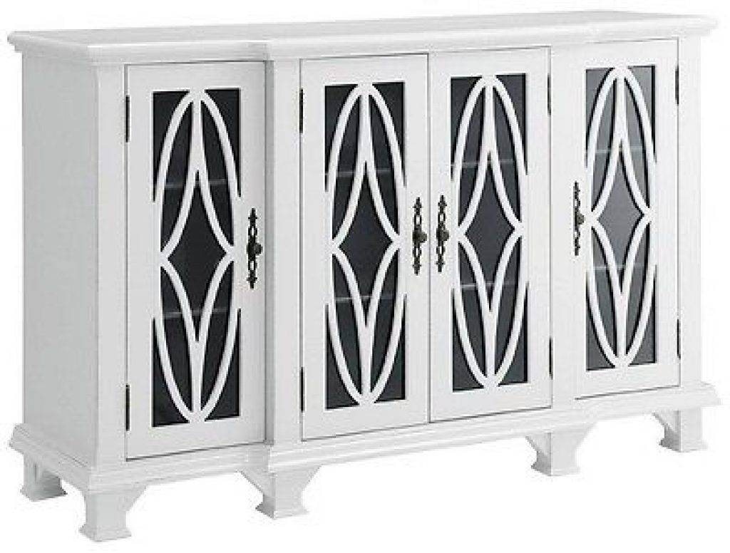 Sideboard Modern Accent Buffet Credenza Sideboard 4 Glass Door Throughout White Sideboards With Glass Doors (Photo 10 of 15)