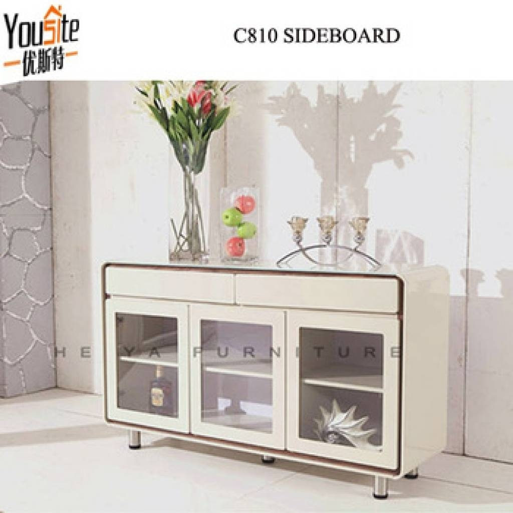 Sideboard Modern Cream Color High Gloss Sideboard With Glass Door Regarding High Gloss Cream Sideboards (View 13 of 15)