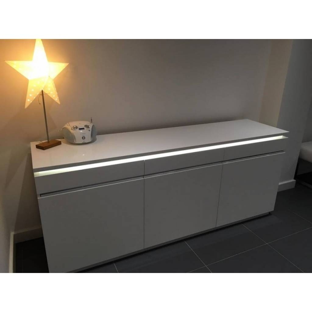 Sideboard Orde White High Gloss Sideboard With Lights Sideboards inside Sideboards With Lights (Image 11 of 15)