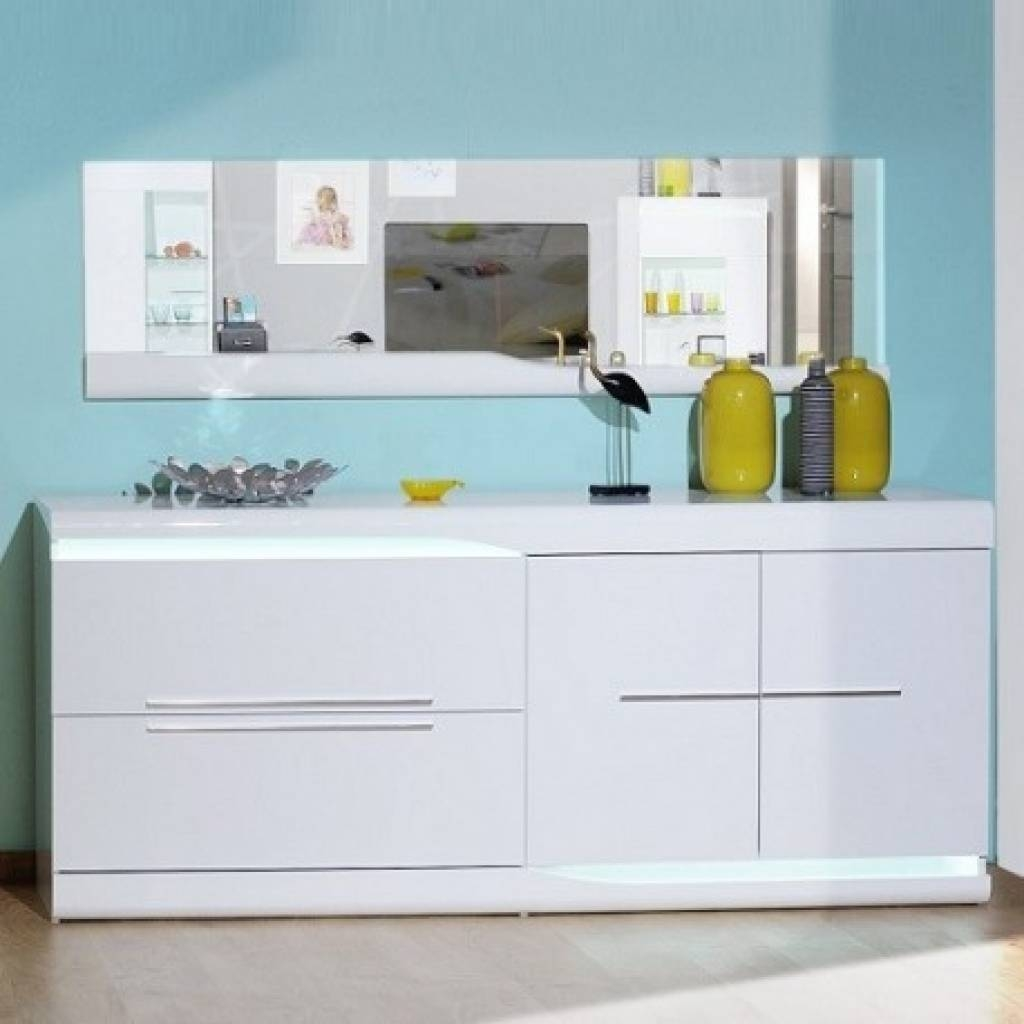 Sideboard Ovio White Gloss Sideboard With Led Lights Sideboards Throughout Sideboards With Lights (View 6 of 15)