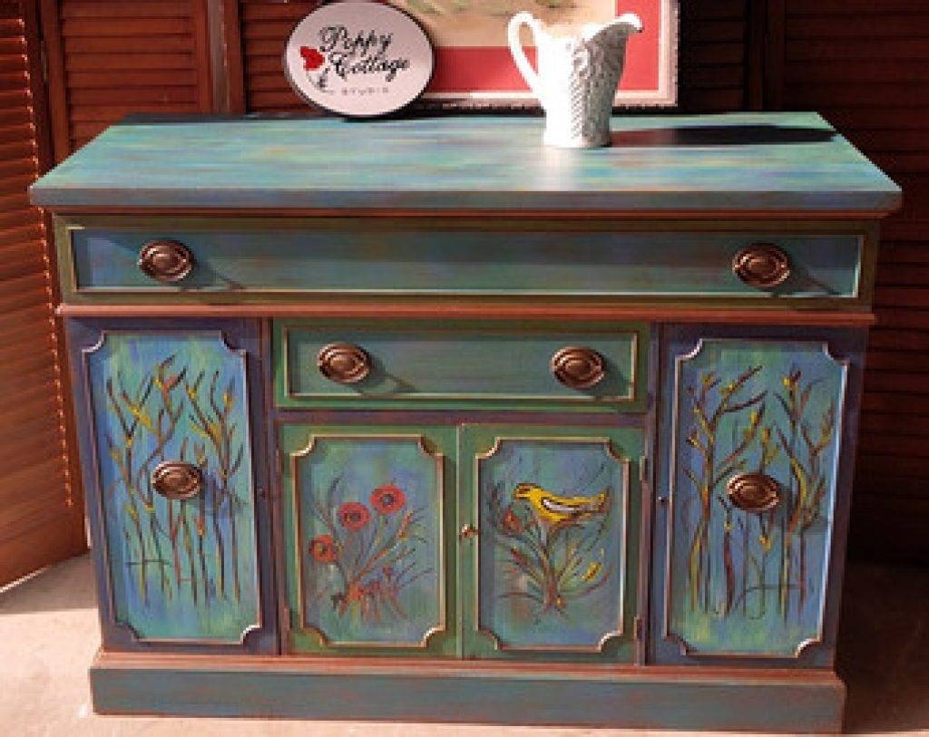 Sideboard Sideboard French Provincial Bow Front Vintage Buffet intended for Hand Painted Sideboards (Image 13 of 15)