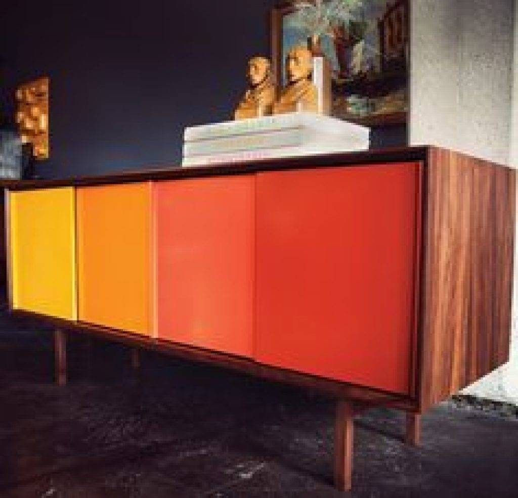 Sideboard Square Contemporary Sideboard With Sliding Doors Throughout Colorful Sideboards (View 10 of 15)