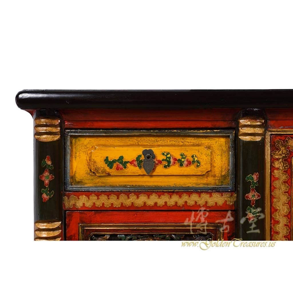 Sideboard Tibetan Antique Colorful Hand Painted Buffet Table Regarding Hand Painted Sideboards (Photo 13 of 15)