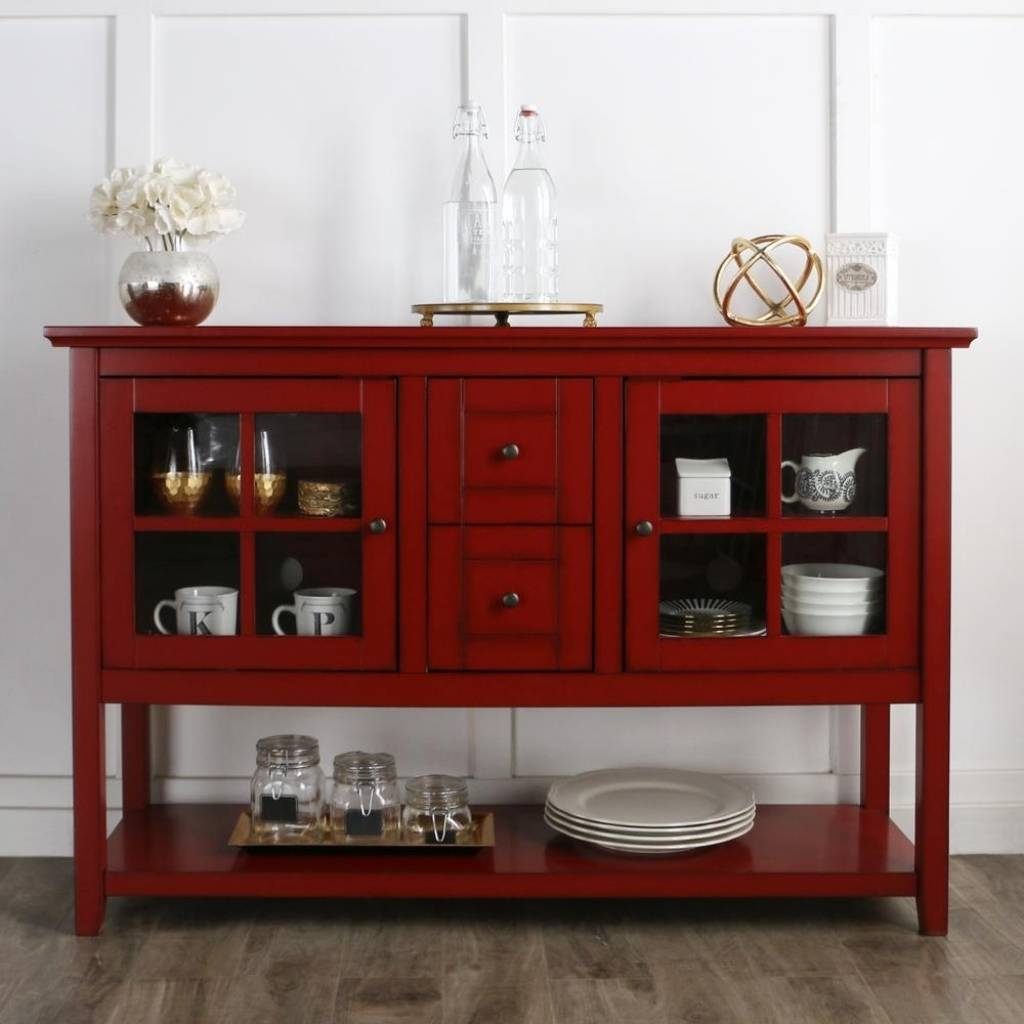 Sideboard Walker Edison Furniture Company Antique Red Buffet With regarding Red Sideboards Buffets (Image 13 of 15)