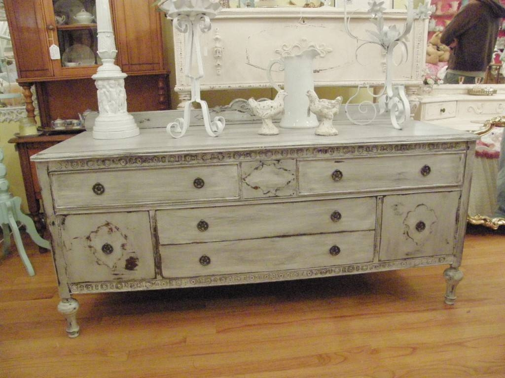 Sideboards. Amusing Distressed Buffet: Distressed-Buffet-Painted regarding Painted Sideboards and Buffets (Image 11 of 15)