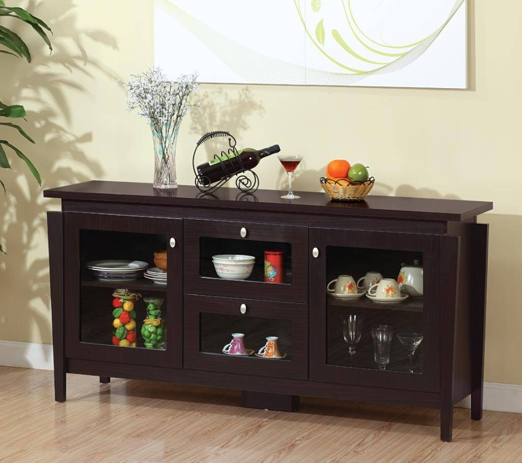 Sideboards. Amusing Glass Top Buffet Table: Glass-Top-Buffet-Table within Glass Door Buffet Sideboards (Image 14 of 15)