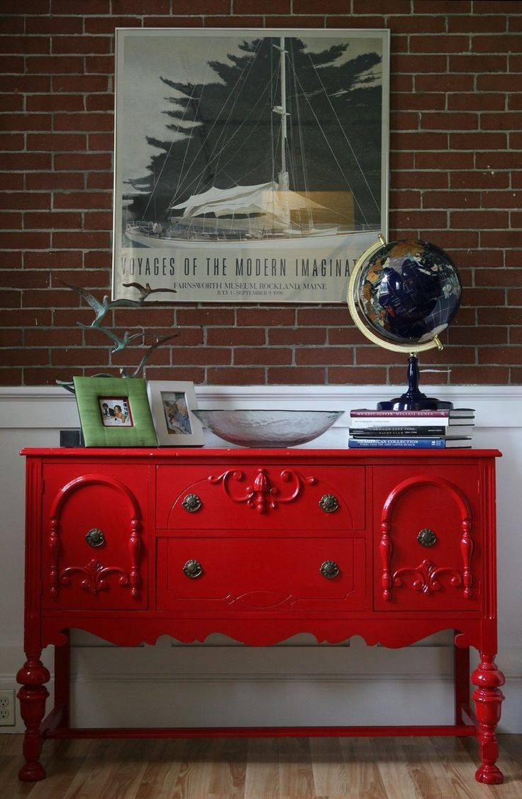 Sideboards. Astonishing Painted Sideboards And Buffets: Painted throughout Red Buffet Sideboards (Image 14 of 15)