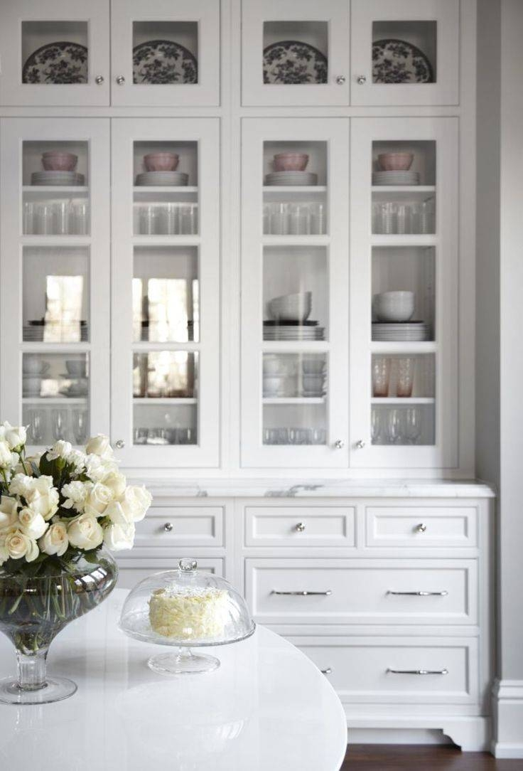 Sideboards. Astounding White Hutch With Glass Doors: White-Hutch with White Sideboards With Glass Doors (Image 13 of 15)