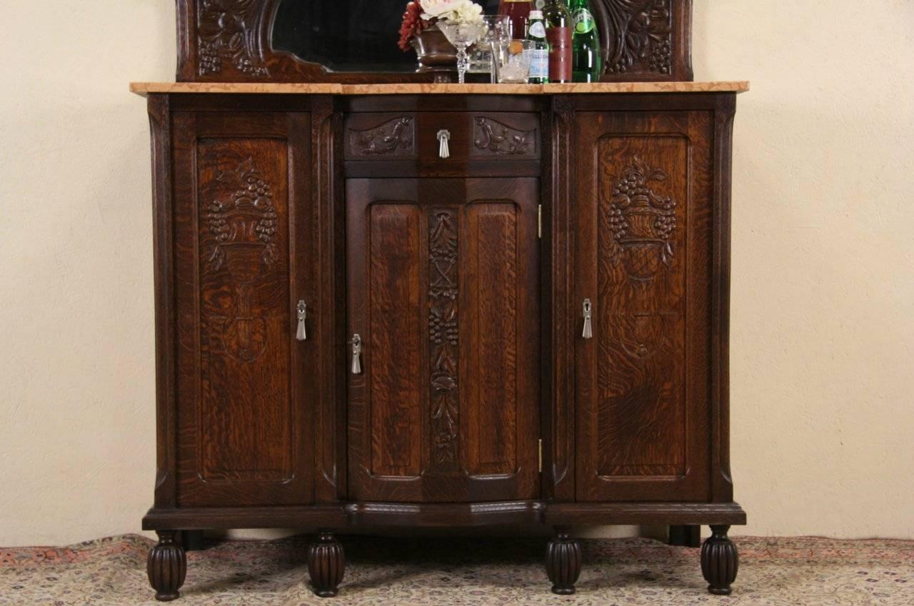 Sold – Art Deco 1925 Antique Marble Top Oak Sideboard, Server, Bar Inside Marble Top Sideboards (View 8 of 15)