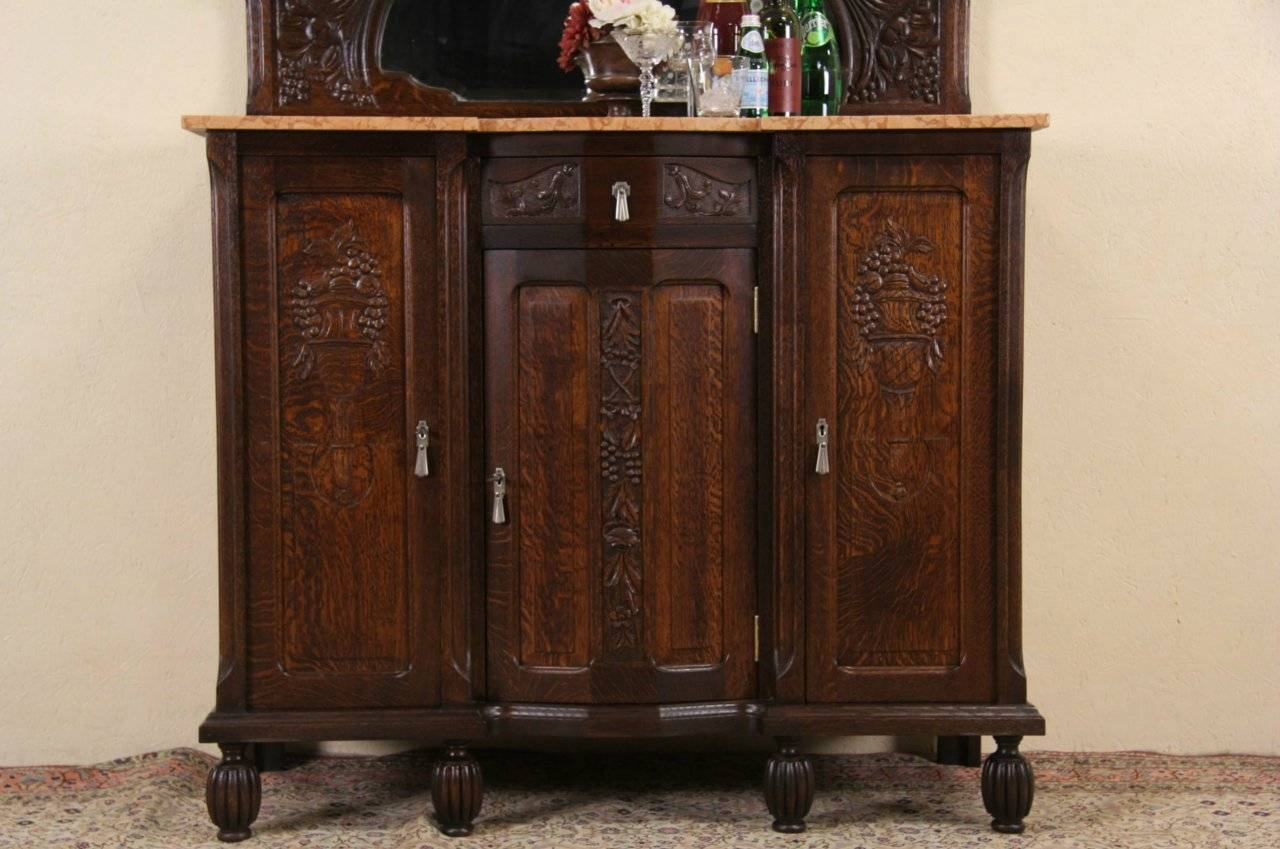 Sold - Art Deco 1925 Antique Marble Top Oak Sideboard, Server, Bar pertaining to Antique Marble Top Sideboards (Image 10 of 15)