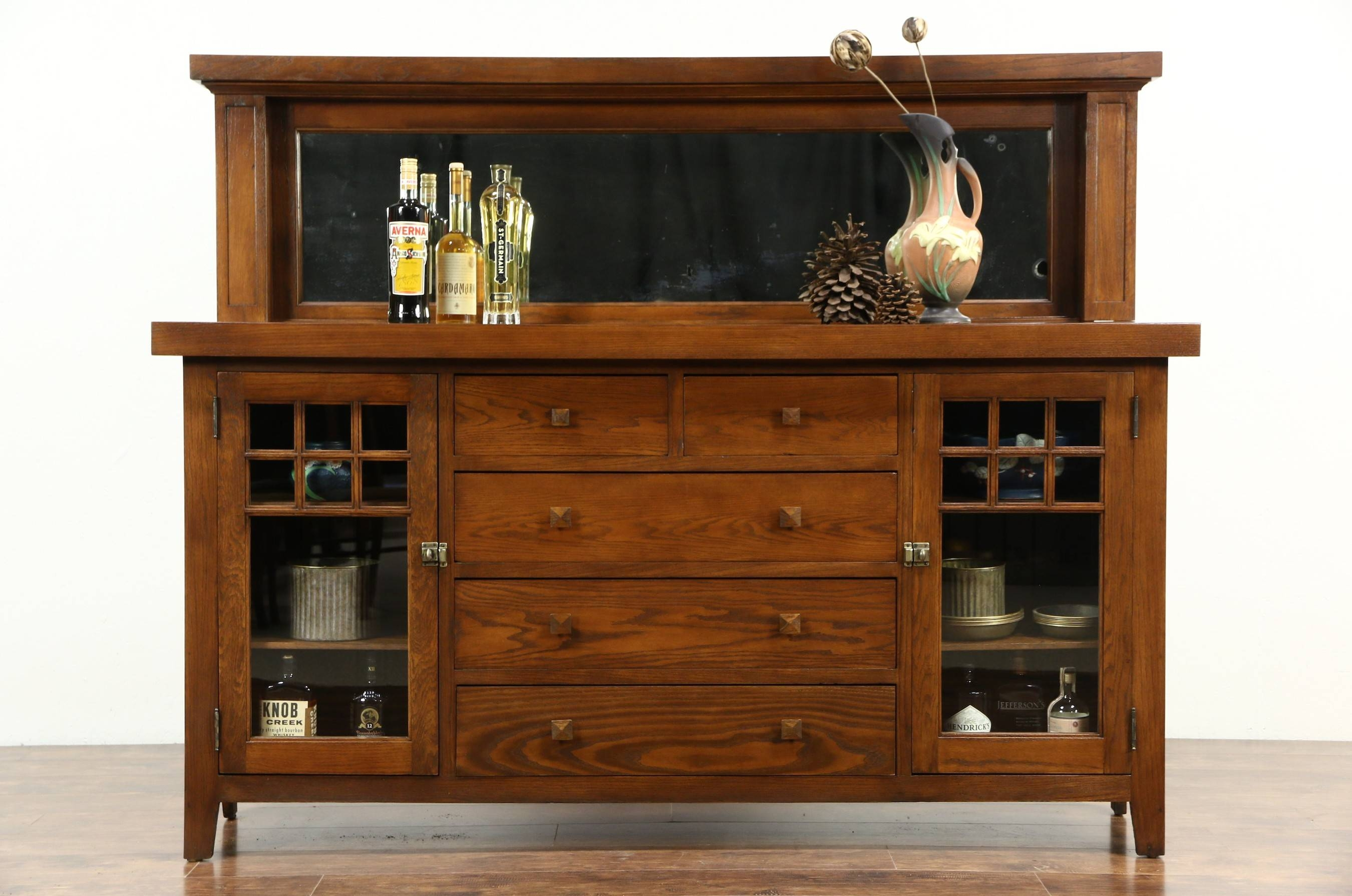 Sold - Arts & Crafts Mission Oak 1900 Antique Craftsman Sideboard pertaining to Mission Sideboards (Image 12 of 15)