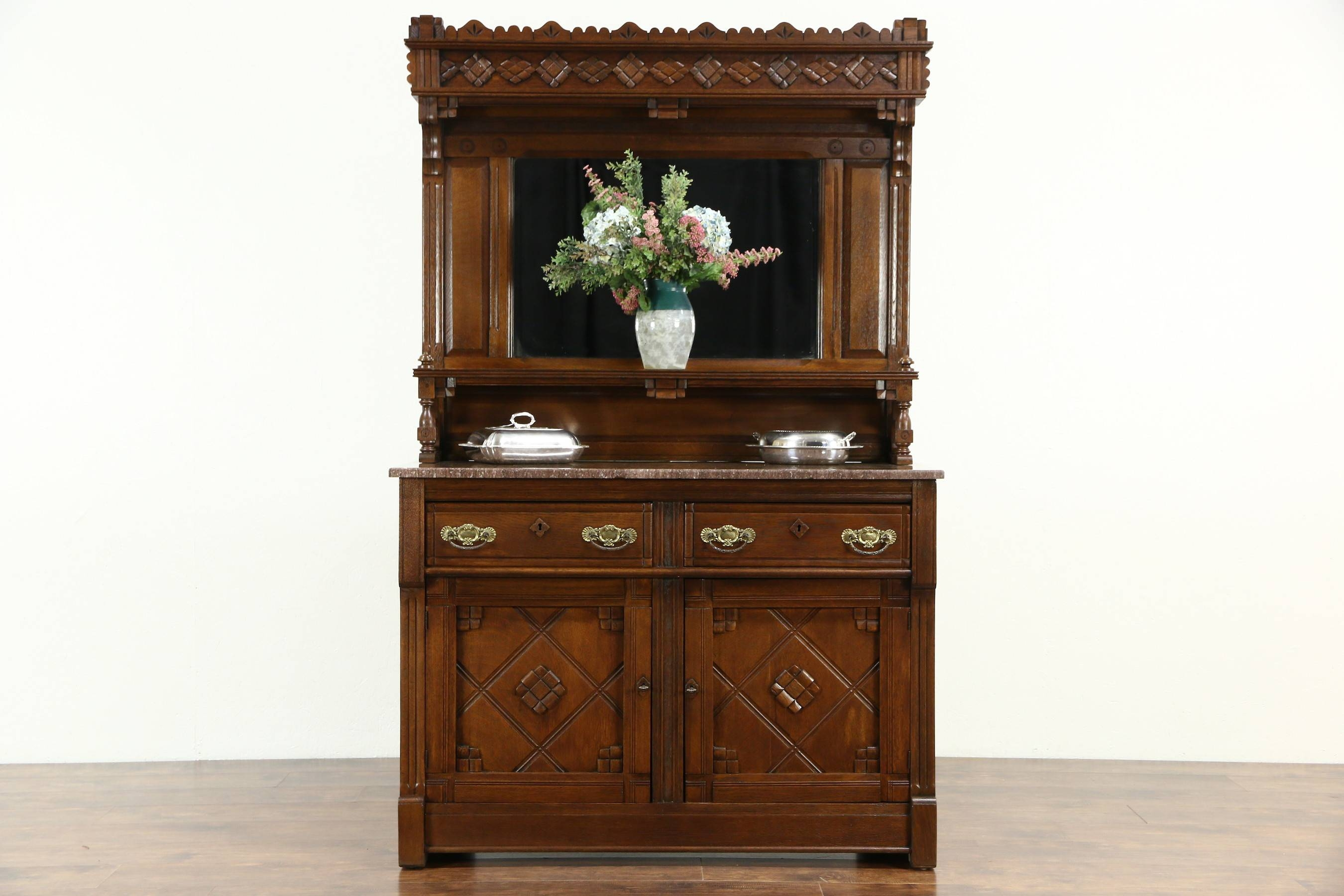 Sold - Eastlake Oak 1880's Antique Sideboard, Server Or Buffet in Antique Sideboards With Mirror (Image 12 of 15)