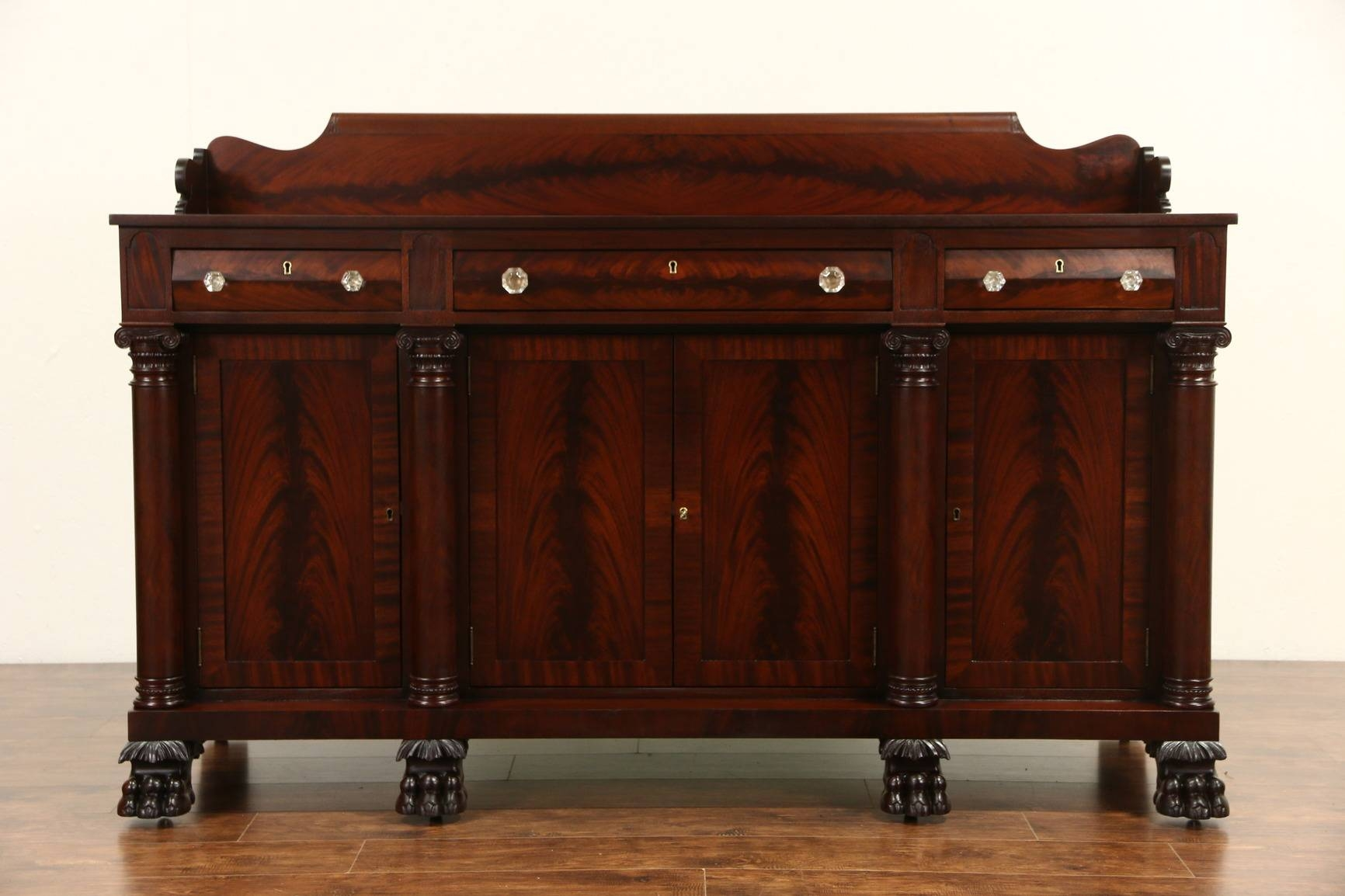 Sold - Empire Carved Mahogany 1900 Antique Sideboard, Server Or intended for Antique Sideboard Buffets (Image 11 of 15)
