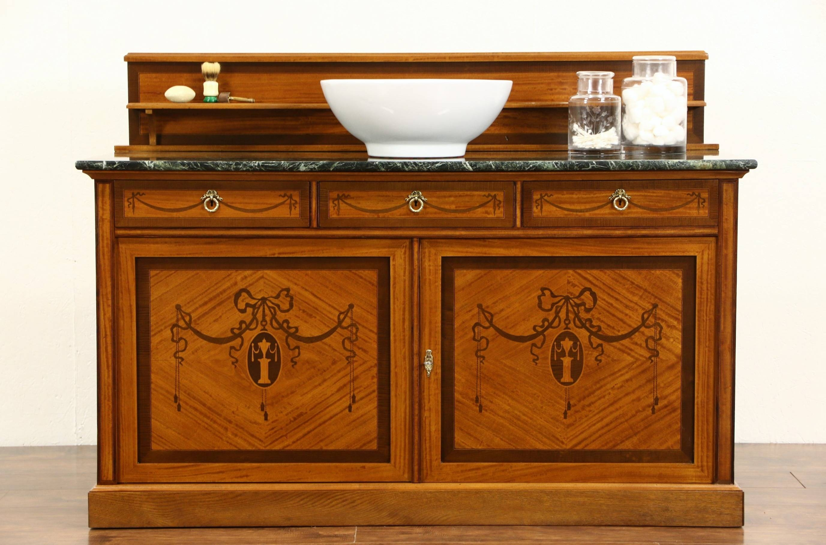 Sold - French 1915 Antique Marble Top Sideboard, Server, Bar Or with Antique Marble Top Sideboards (Image 11 of 15)