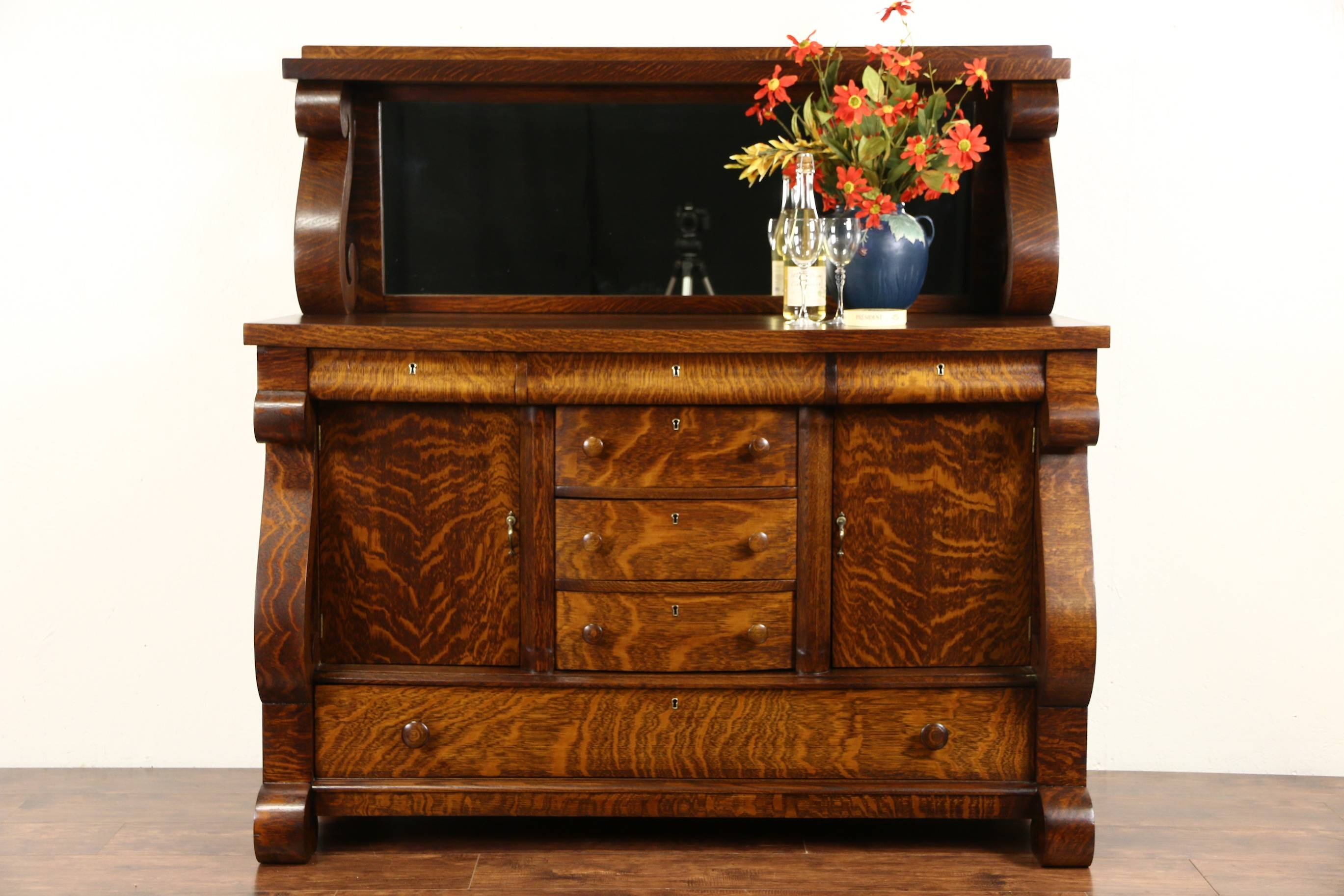 Sold Oak 1910 Antique Empire Sideboard Server Or Buffet Mirror With Sideboards