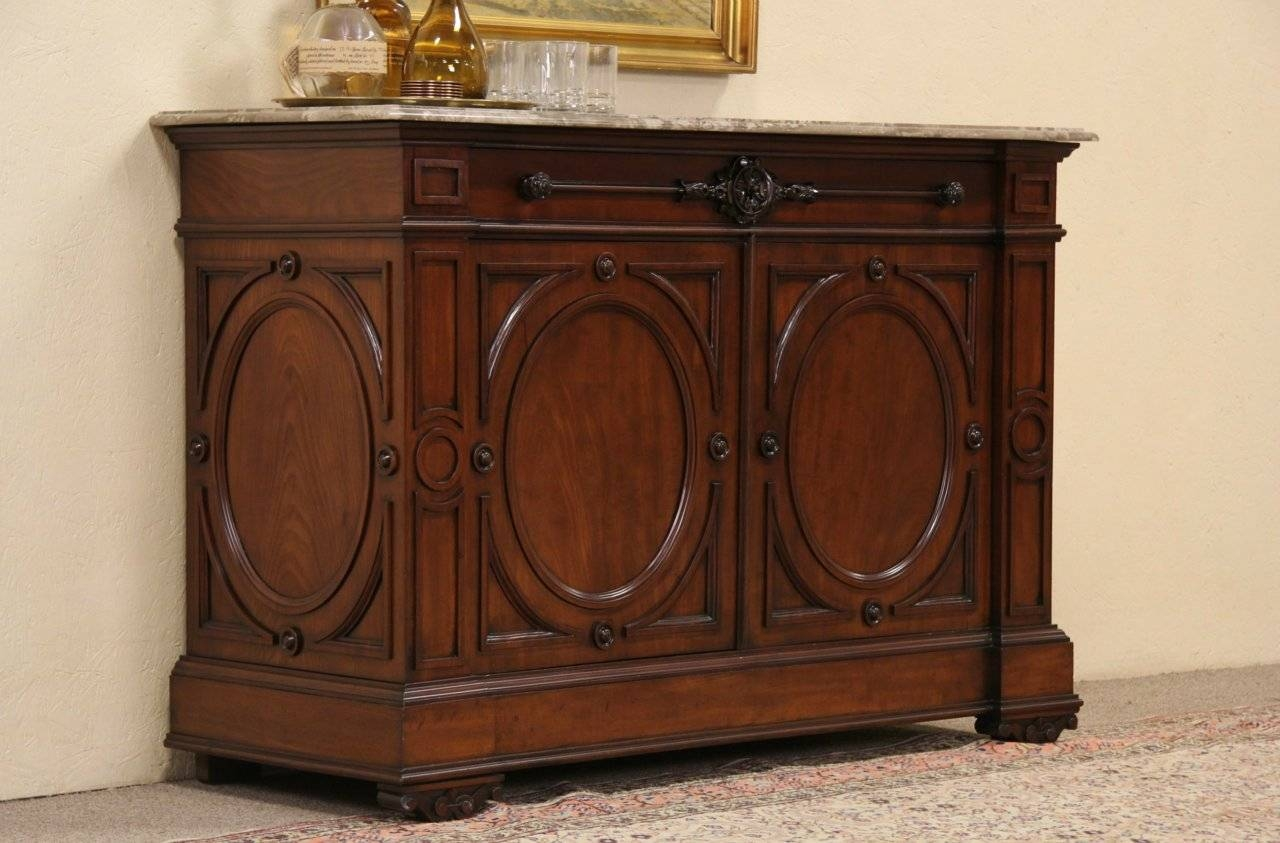 Sold - Victorian 1870's Austrian Marble Top Sideboard Or Server inside Marble Top Sideboards (Image 12 of 15)