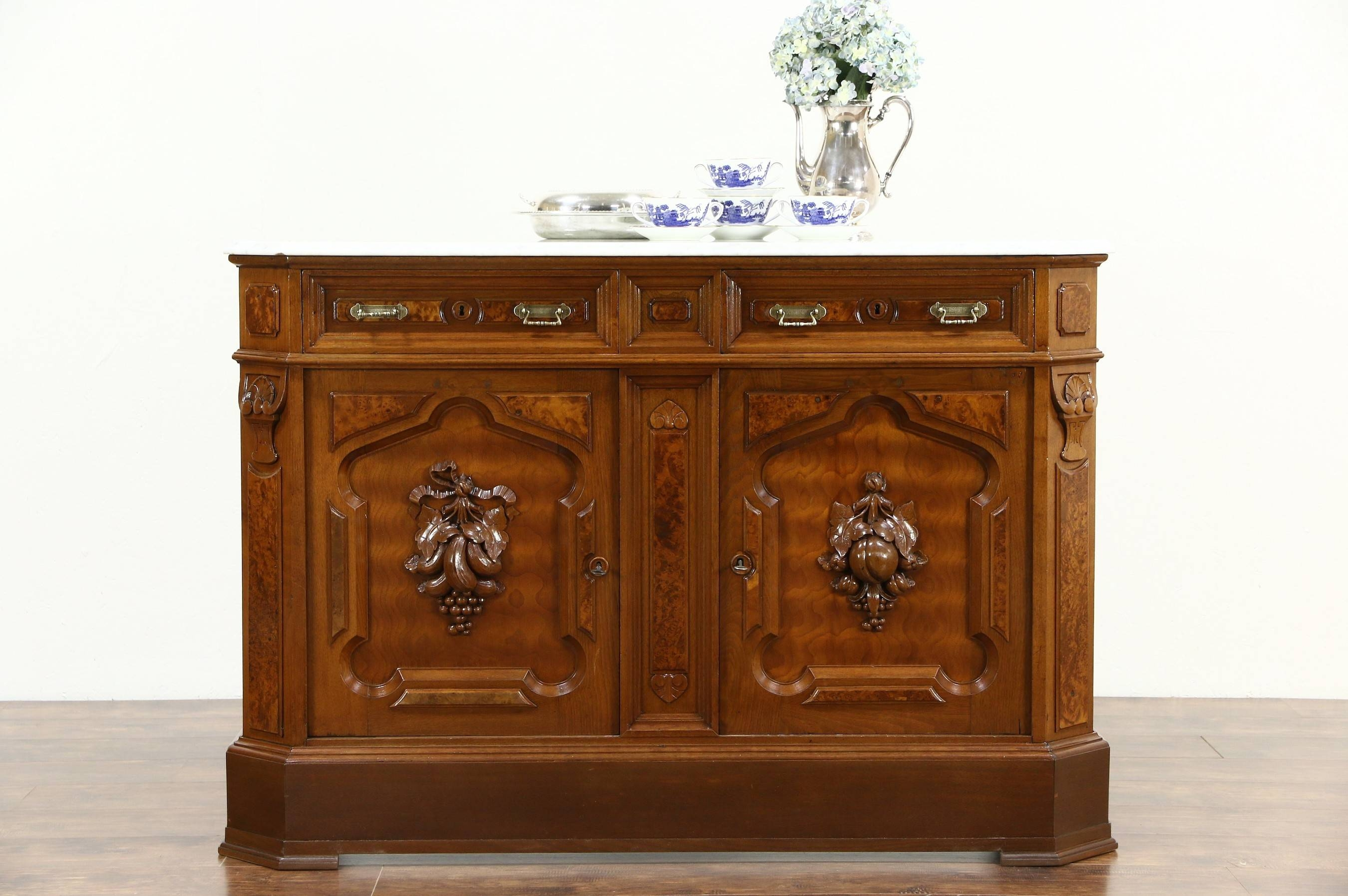Sold - Victorian 1880 Antique Marble Top Walnut Sideboard Server intended for Antique Marble Top Sideboards (Image 14 of 15)