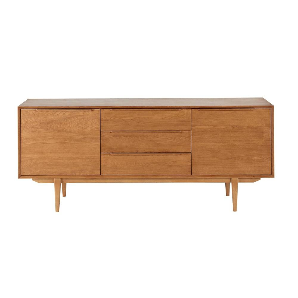 Solid Oak Vintage Long Sideboard | Maisons Du Monde in Vintage Sideboards (Image 10 of 15)
