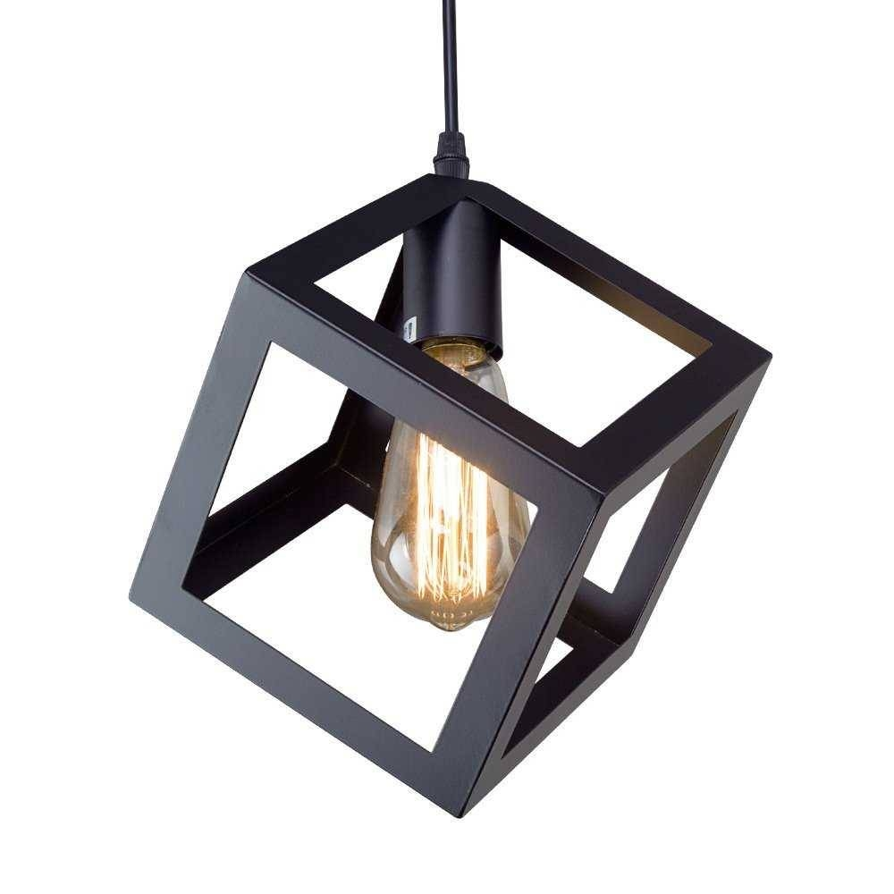 Square Pendant Light Black Finddecor Within Fixtures Image