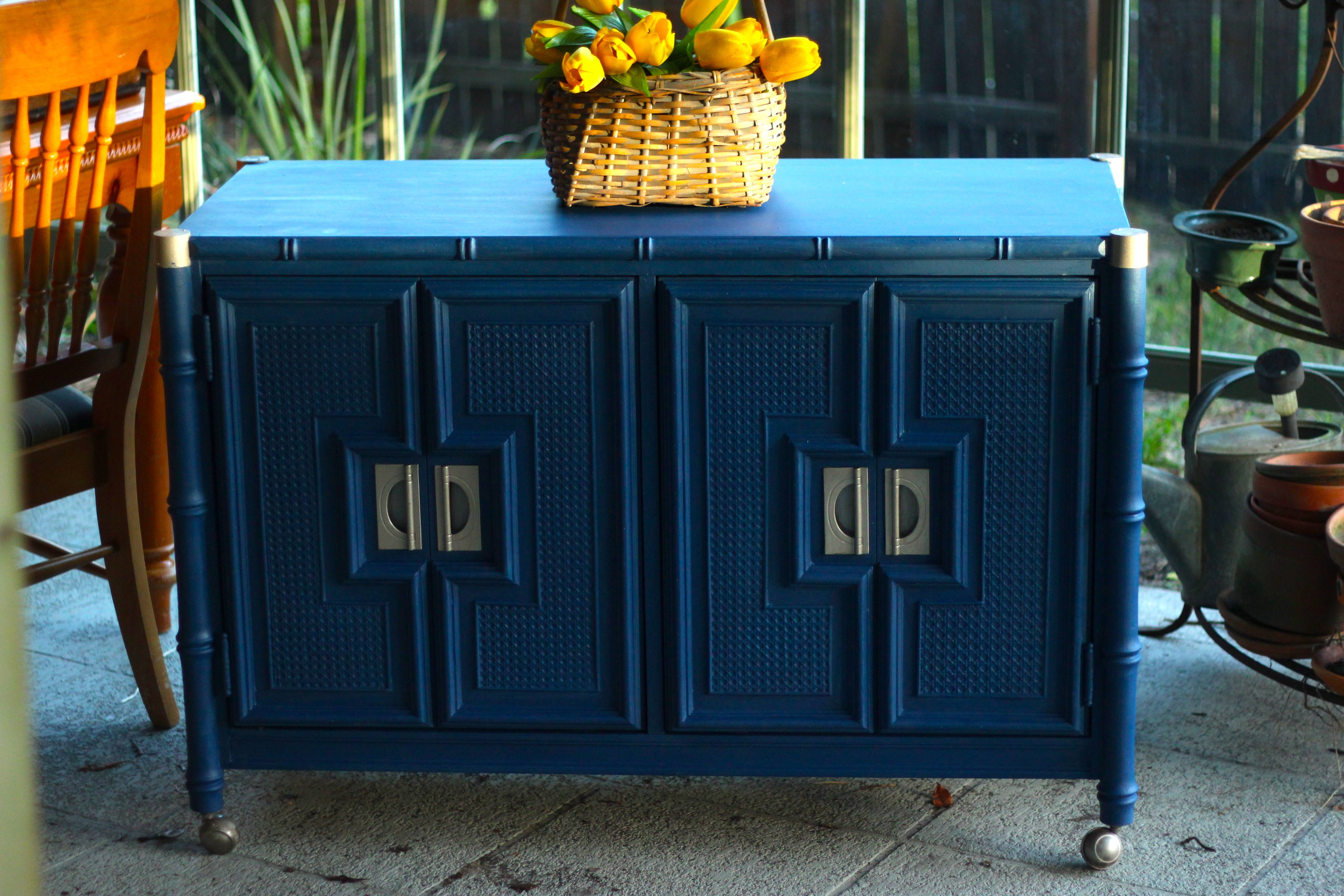 Stanley Faux Bamboo Hollywood Regency Server Bar Sideboard/buffet Throughout Blue Buffet Sideboards (View 10 of 15)