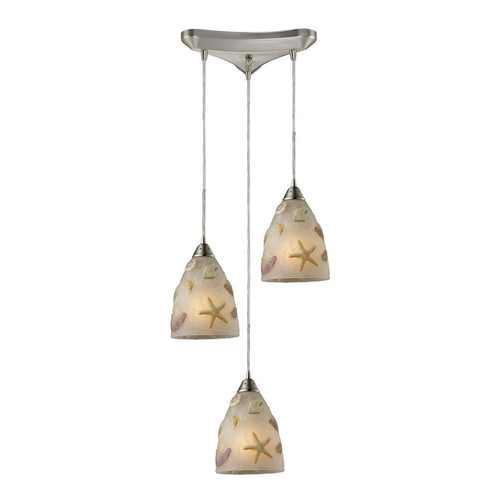 Starfish / Sea Shells Glass Multi Light Pendant Light | 20000/3 Inside Sea Glass Pendant Lights (View 14 of 15)