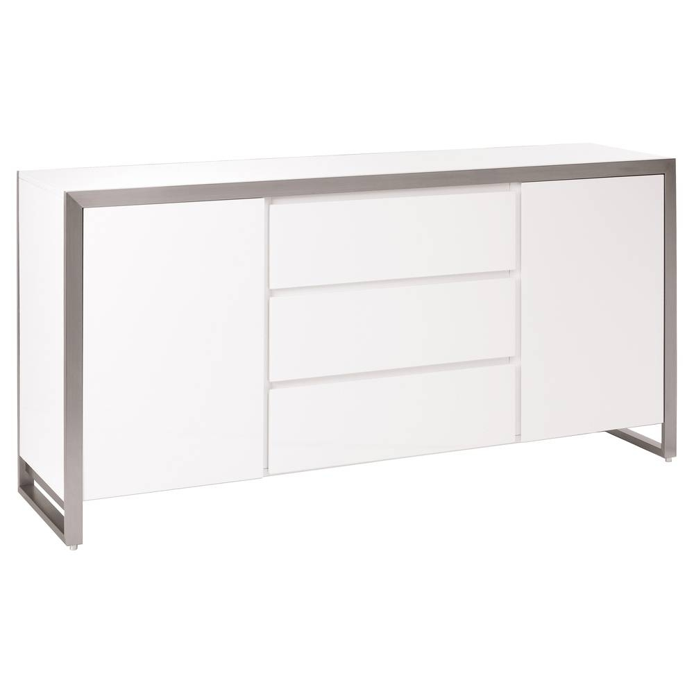 Steel Frame Gloss Sideboard White - Dwell within Uk Gloss Sideboards (Image 14 of 15)