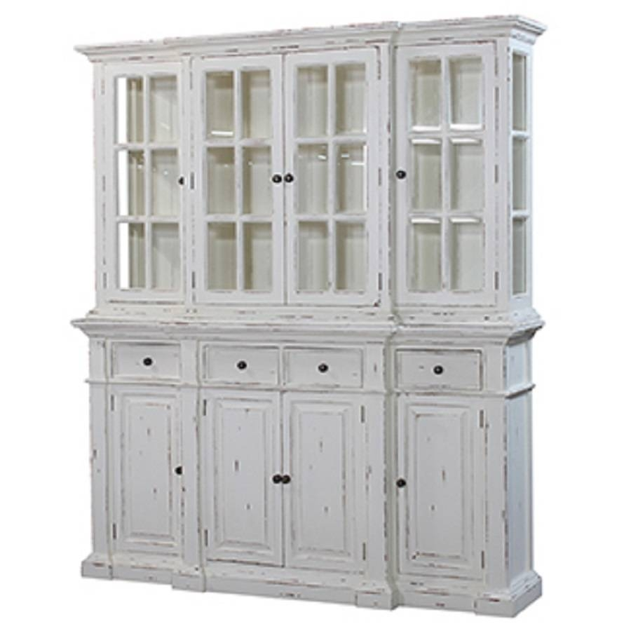 Stepped Front Buffet With Hutch White Distressed : , Storeroom On Main throughout Distressed Sideboards and Buffets (Image 14 of 15)