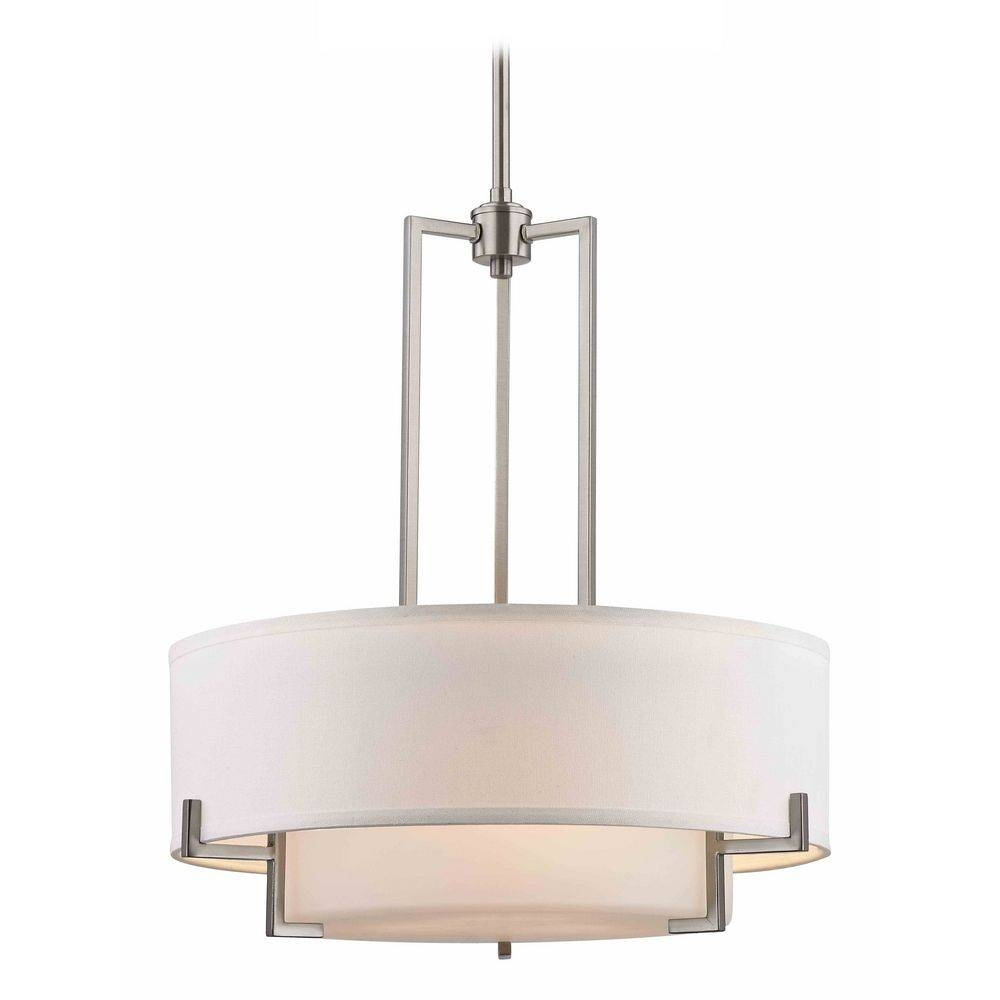 Stunning Lowes Drum Chandelier Portfolio Eyerly In Chrome Single With Regard To Long Hanging Pendant Lights (View 12 of 15)