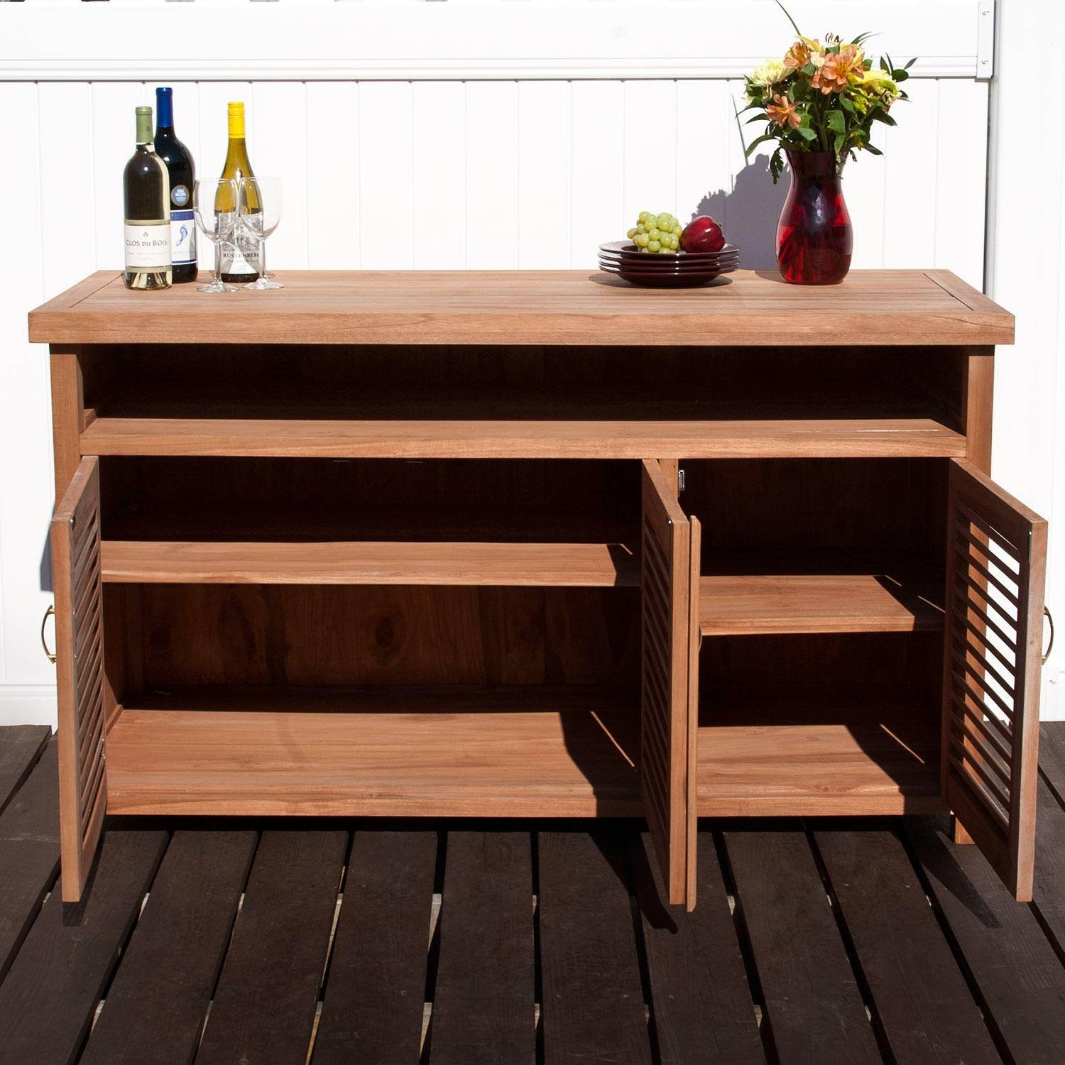 Teak Outdoor Buffet With Storage - Outdoor with Outdoor Sideboard Cabinets (Image 14 of 15)