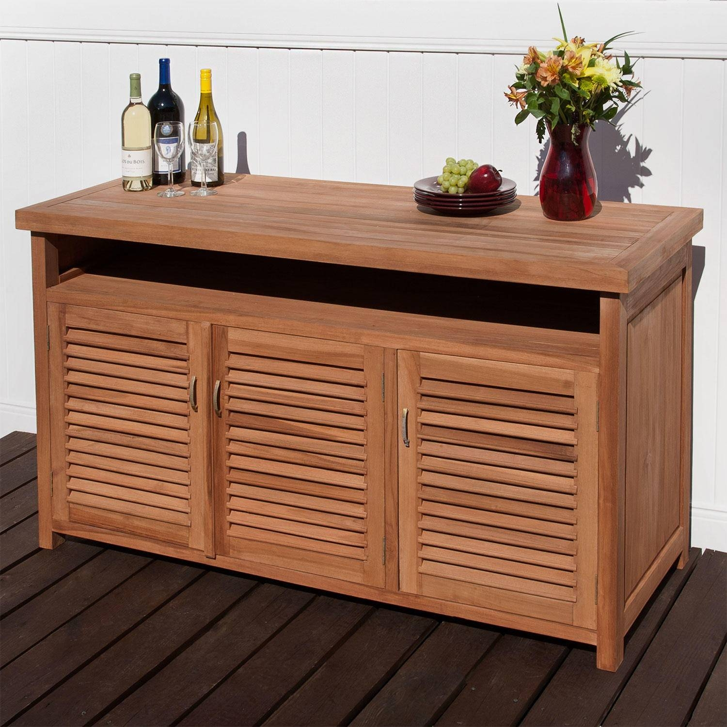 Teak Outdoor Buffet With Storage – Outdoor Within Outdoor Sideboards (View 2 of 15)