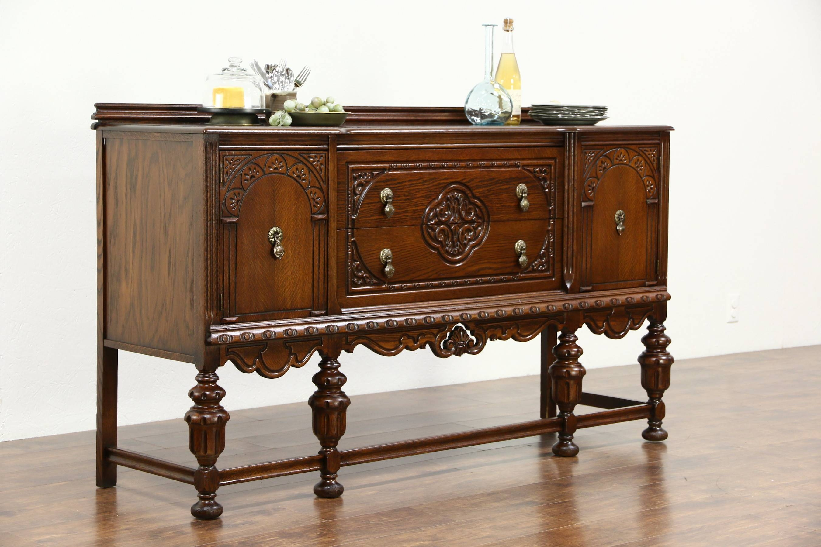 Tudor Design 1925 Antique Carved Oak Sideboard, Server Or Buffet for Antique Oak Sideboards (Image 13 of 15)
