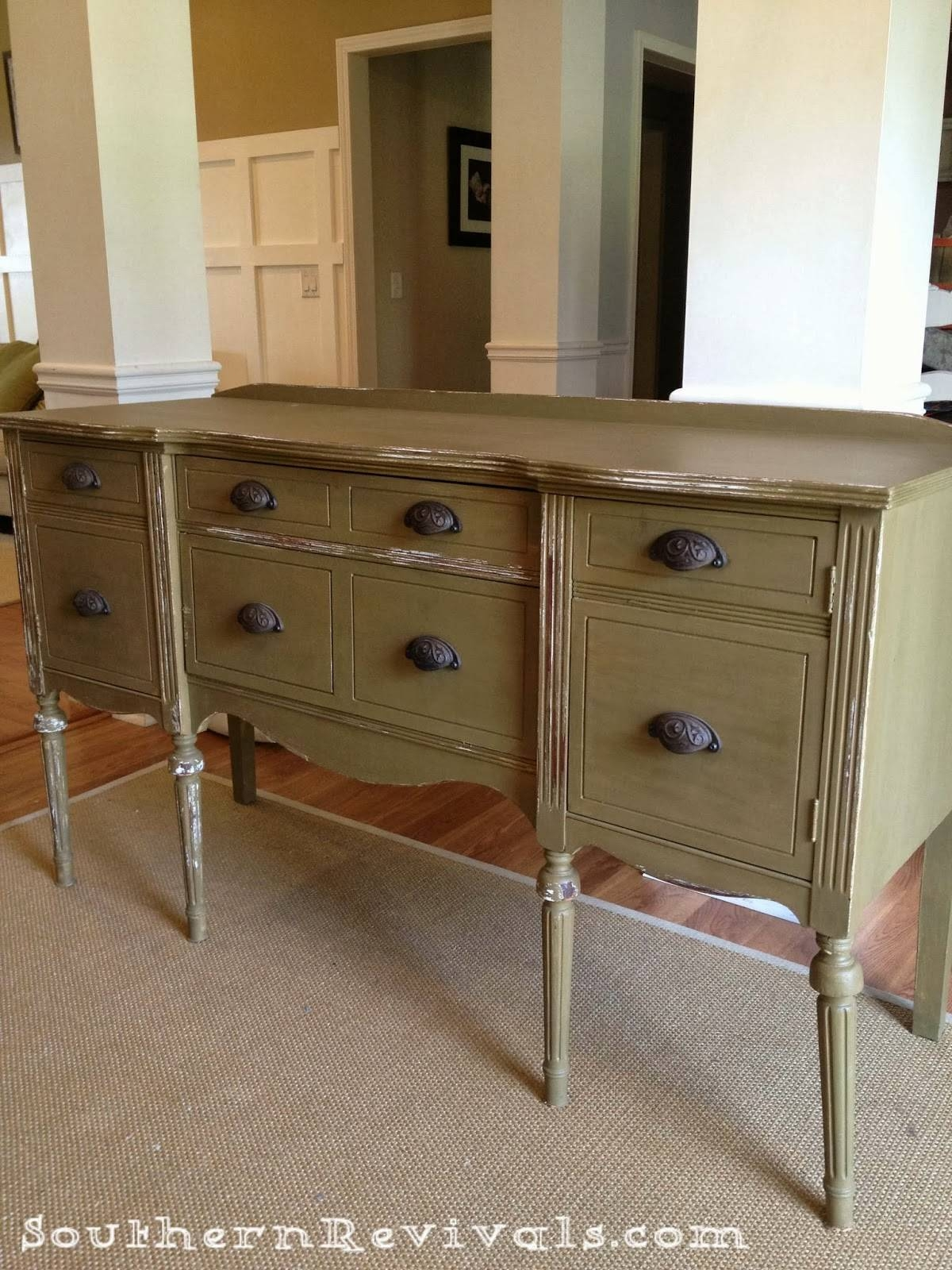Updating A Vintage Sideboard Buffet With A Pop Of Color – Southern For Vintage Sideboards And Buffets (View 5 of 15)