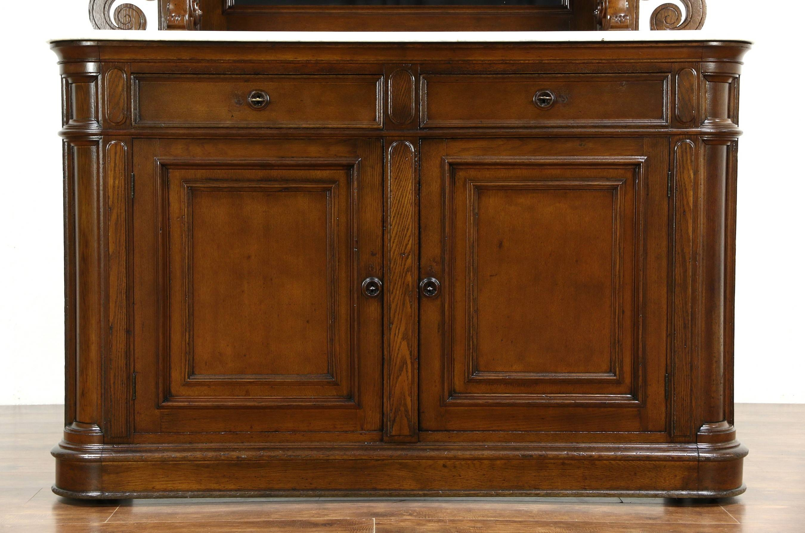 Victorian Grape Carved Oak Antique 1870 Sideboard, Server Or In Sideboards With Marble Tops (View 7 of 15)