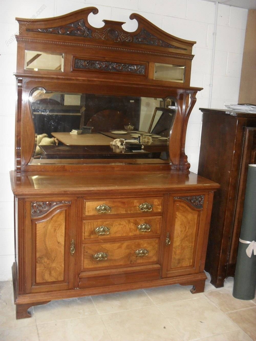 Victorian Walnut Mirror Back Sideboard - Antiques Atlas pertaining to Antique Sideboards With Mirror (Image 15 of 15)